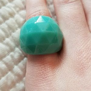 Teal faceted lucite cocktail ring